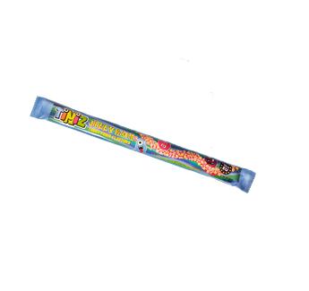 Jelly Rope želé  s jahodovou príchuťou obalené v cukrovom  dražé s citrónovou  a jahodovou príchuťou
